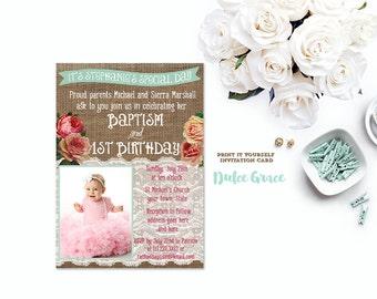 baptism invite, baptism 1st birthday invitation, photo invite, floral invite, burlap lace invite, digital invitation