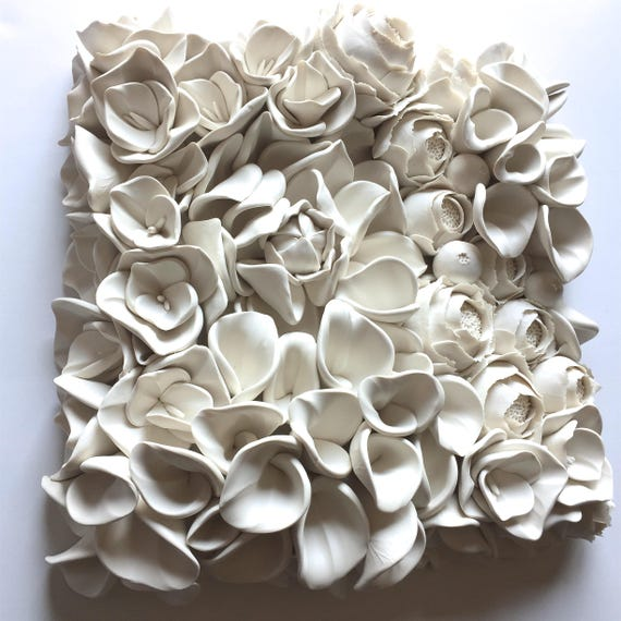 """12"""" Square Floral Clay Wall Decor Tile"""
