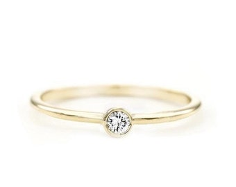 14k round diamond ring, solitaire diamond ring, simple engagement ring, promise ring, simple diamond ring, delicate diamond ring, 14k ring