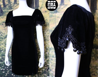 Cute Vintage 60s Black Velvet Mini Party Dress with Beaded Sleeves by Carnival