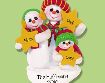 Snowman Family of 3 with Stars Handmade Polymer Clay Personalized Christmas Ornament - Limited Edition