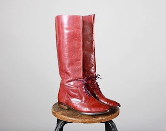 Vintage en cuir marron acajou équitation bottes-grand plat rouge violet chaussures genou haut haute lacets pointu-taille 7