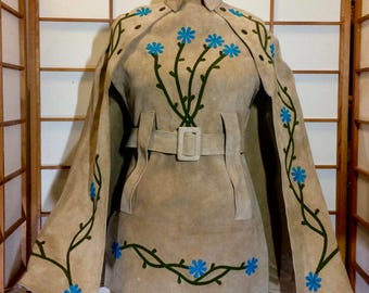 70s Suede Embroidered Floral Poncho- Belted Flower Child Cape  Hippy Turquoise Floral Flowers S/M Penny Lane Almost Famous