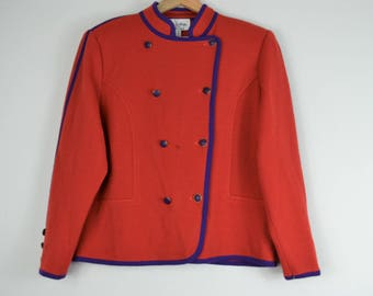 Vintage 90s Military Inspired Red Jacket- Formal Army Jacket- Vintage Arthur Kohler