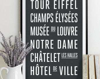Paris Subway Sign - Typography Print - Modern Home Decor - Art Poster