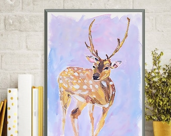 Print - Deer Art Painting
