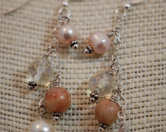 Natural stone, Czech glass & pink fresh water pearl earrings. Czech glass beads, Sterling silver, wire wrapped.