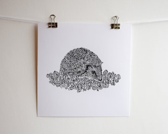 Hedgehog with Spring Leaves Illustration, Blacn and white Square Screen Print