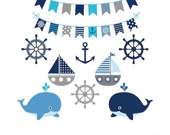 Grey nautical clipart, Nautical clip art set, Cute sailing clipart, Nautical printable graphic, Gray navy clipart, Sea bunting clipart