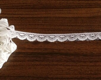Lace ribbon, zag pattern lace, 1 cm wide, white color 100% polyester, price for 1 metre (nr 2)