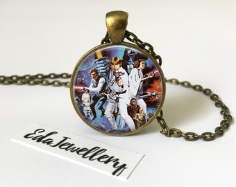 Star Wars Movie Poster, Luke Skywalker, Darth Vader, Princess Leia, Han Solo, Jewellery, Necklace