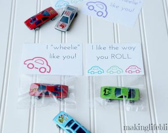 Printable CAR Cards, Car Party Favor Printable for Kids