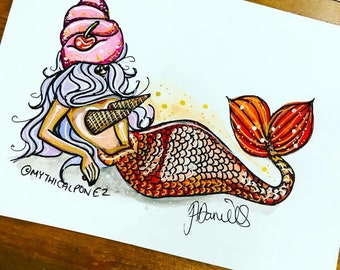 Ice Cream Mermaid A5 watercolour illustration Mythicalponez burlesque pin up retro fairytale fantasy sealife ink girl beauty surreal bizarre
