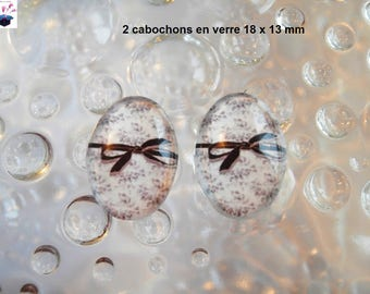 2 cabochons glass 18mm x 13mm blue liberty theme