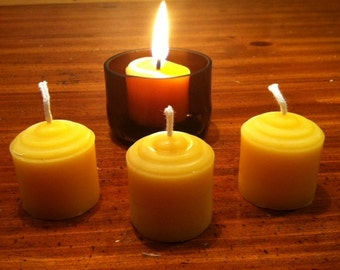 Small 100% Beeswax Votive Candle Waldorf Purifying