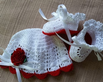 Baby Hat Booties, Preemie Baby Hat and Booties, Crochet Hat and Booties, Victorian Preemie Baby Girl, Reborn Doll Red Flower Baby Photo Prop