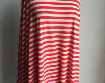Red Beachy Stripes. Cotton/lycra Designer End Roll. 4-way Stretch