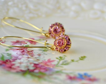 Pink & Gold Earrings, Glitter Bauble Earrings, Pink Sparkly Earrings, Vintage Crystal Jewelry, Pink Flower Jewelry, Drop Earrings, Gift Her