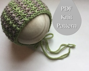 PDF Knit Pattern #0027 The Jacob Knit Bonnet, Newborn, Knit PDF Pattern, Tutorial, Knit Pattern, Beginner, Easy,Instruction,Newborn