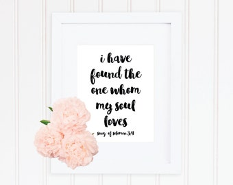 Typography Art Print Instant Download Printable Whom My Soul Loves Romantic Love Quote