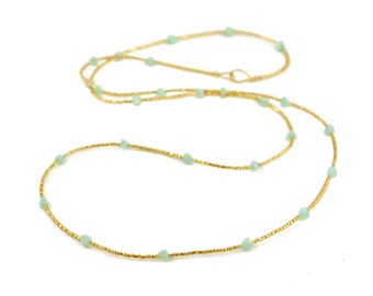 Gold Glass and Amazonite Pyramid Long Beaded Necklace