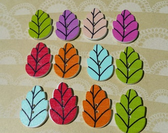 """Wood Leaf Buttons - Wooden Painted Leaves Button - Sewing Crochet Quilting Buttons - 1 3/16"""" Wide - 12 Assorted Buttons"""