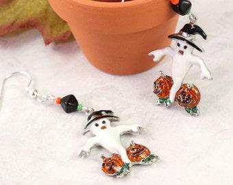 Halloween Earrings Ghost Earrings Orange Pumpkin Black Green Spooky Earrings Halloween Jewelry Scary Charms