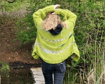 SLOUCHY warm sweater,Classic form, st Patricks day, cardigan,  boho style, very soft Italian acrylic, oversize,S-L, 2 in 1 , green