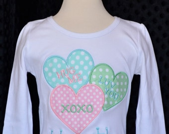Personalized Valentine's Conversation Hearts Applique Shirt or Bodysuit Girl or Boy