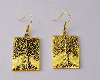 Tree of Life Earrings, Silver Tree Earrings, Tree Charm Earrings, Antique Brass Tree Earring, Tree Jewelry, Gift for Her, Inspired by Nature
