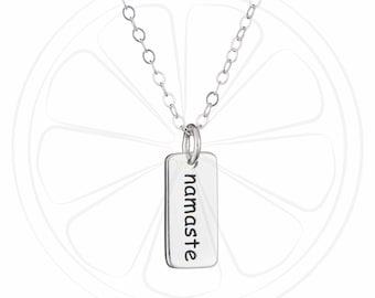 FREE SHIPPING USA, Namaste Necklace, Yoga Necklace, Namaste Jewelry, Yoga Gift, Silver, Jewelry, Jewelery, Gift Best Friend, Birthday,
