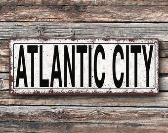 Atlantic City Metal Street Sign, Rustic, Vintage  TFD2056