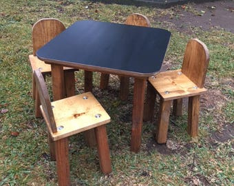 Chalk Board Table Set with 4 chairs.