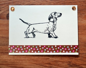 Dachshund DOXIE note cards gift card 5 pack handmade rescue