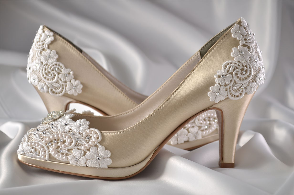 Wedding Shoes Womens Shoes PBT-0826A Vintage Wedding Lace