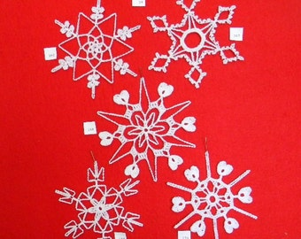 PDF Patterns for 5 Crocheted Snowflakes - set 34