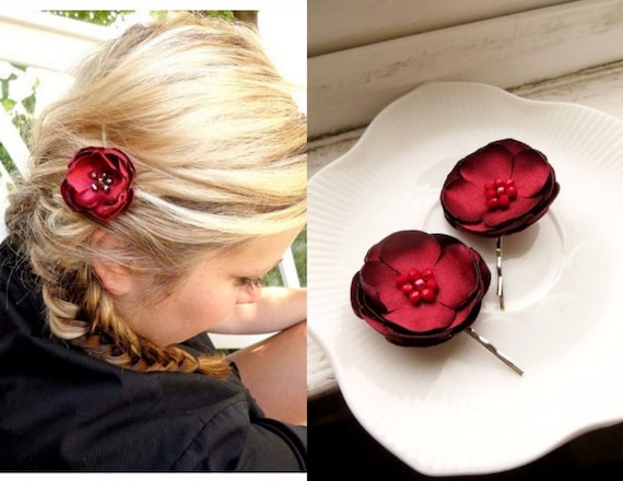 2 small satin red flower hair clip silk floral bobby pins floral hair dark red flower girl hairpin for wedding bridal hair pin small mightylinksfo