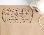 Laurel Address Stamp Handwritten with Custom Calligraphy