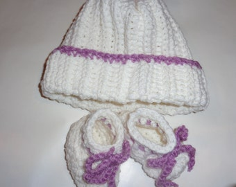 Crochet Baby hat and boots, soft and gentle on baby skin.