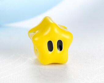 Mario Star Enamel European Bead Charm