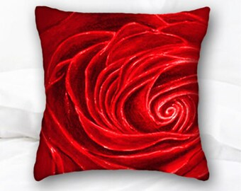 Red Rose Throw Pillow | Valentines Day Gift | Rose Home Decor | Floral Decorative Pillow | Red velvet Rose | Roses Pillow | Flowers | Floral