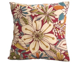 Pillow Cover, Garnet Red and Off-White, Bold Botanical Print, Throw Pillow Cover, 18 x 18 Inches