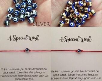 BlueB - A Special Wish BLUE EVIL EYE Bracelet - gold or silver evil eye