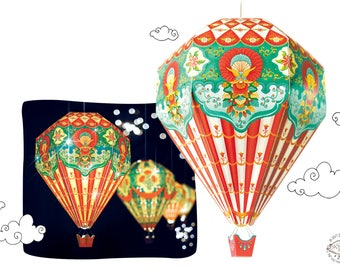 Big DIY Paper Hot Air Balloon Lamp Shade RED | Physical Pre-cut DIY Kit | Colorful kids room nursery home decor | Hanging Christmas Light