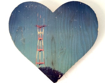 """Blue Sky Sutro Tower - 9x8"""" Heart Distressed Photo Transfer on Wood"""