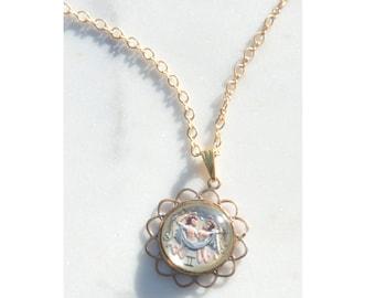 1950s Gemini Intaglio Glass Pendant Necklace in Gold