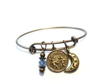 Pick Your Sign Bangle Bracelet Pisces Jewellery Gemini Moon Stars Charm Customize Personalized Libra Leo Christmas Stocking Stuffer