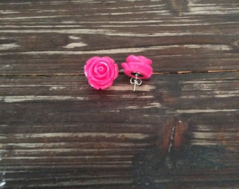 Detailed Hot Pink Rose Studs