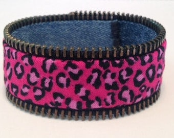 Zipper Armband - pink Leopard Print/Denim - reversible