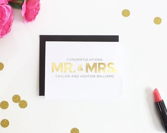 Wedding Card - Custom Wedding Congratulations Card - Congrats Mr. and Mrs. - Personalized Wedding Gift - Gold Foil Card - REAL FOIL